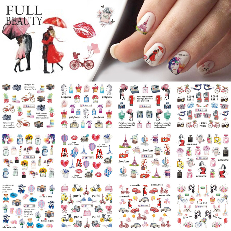 12 Types Watercolor Romantic Slider Nail Sticker Tower Macarons Perfume Flower Transfer Water Design Manicure Tips CHBN1141 1152-in Stickers & Decals from Beauty & Health