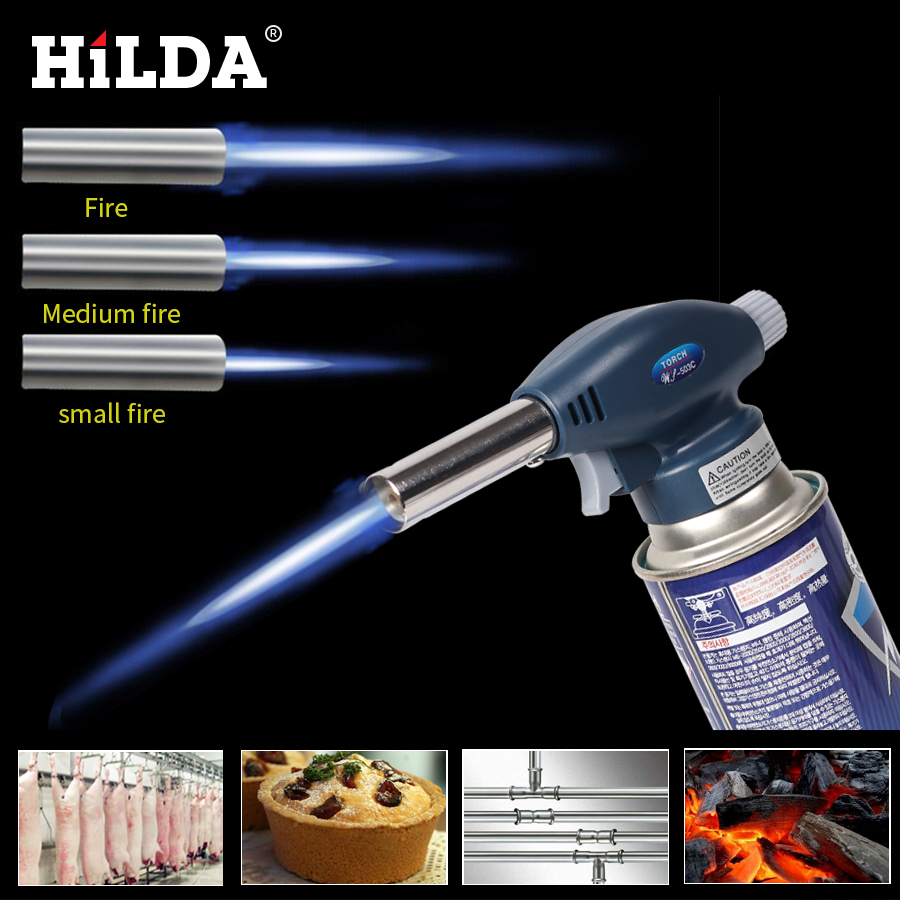 HILDA Camping BBQ Flame Gas Torch Flamethrower Butane Lighter Automatic Piezoelectricity Ignite Soldering Welding