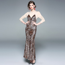ARiby 2019 Spring New Women Dress Vintage Elegant Leopard Tattoo O-Neck Long Sleeve Buttock Fishtail Ankle-Length One-step