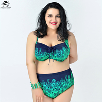 Vintage Bikini 2015 Newest Sexy Women Plus Size Bikini Printing Big Bra High Waist Bikini For