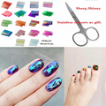 Excellent Value! Trendy Products 18colors Laser Holographic scissors gift~Foil Paper DIY Manicure Nail Art Sticker Broken Glass
