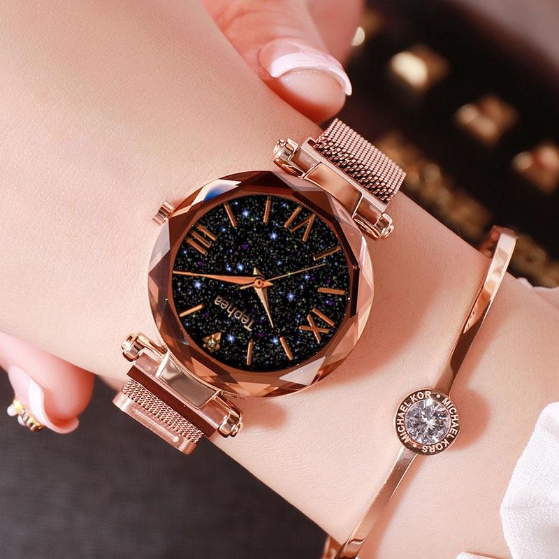 Relogio Feminino Casual Starry Sky Watch Women Quartz Stainless Strap Watches Analog Wristwatch Luxury Montre Homme Reloj Mujer