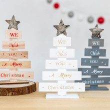 Новогодняя деревянная мини Рождественская елка, настольные украшения для рождественской вечеринки, Декор для дома noel natale kerst navidad
