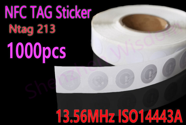 1000pcs Lot NFC NTAG213 Tag Sticker 13 56MHz ISO14443A NFC Tags 25mm Stickers for all NFC