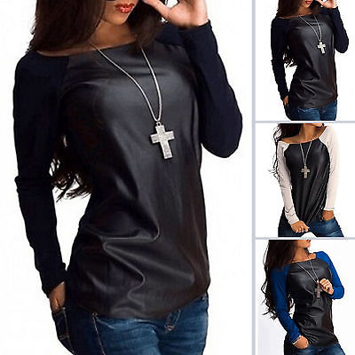 New Womens Sexy Scoop Neck Jumper Tops Leather Casual Baseball Tee   Blouse     Shirts   Outwear