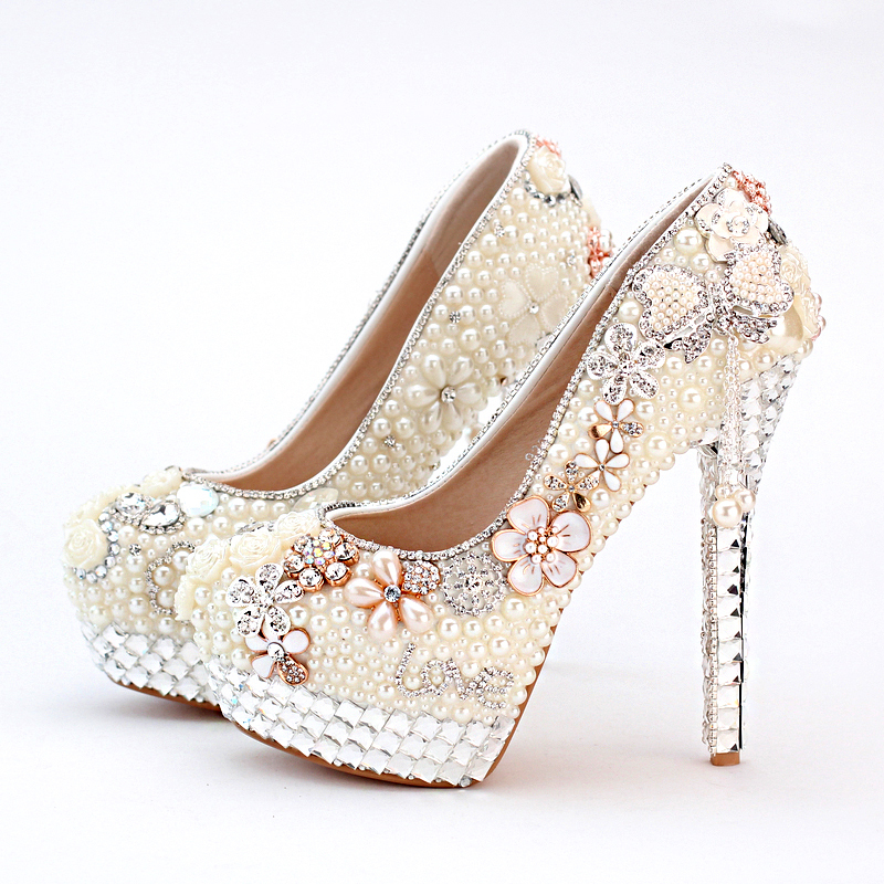 2016 Vogue Ivory High Heel Formal Shoes Pearl Bridal Shoes Wedding and  Brideal Shoes with Tassel Shape women Platforms 39bba5d58fc7