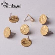 Kolczyki akcesoria do wyrobu biżuterii stop cynkowy złoty marszczyć okrągła podstawa kolczyki złącze 16MM 6 sztuk/partia dla majsterkowiczów