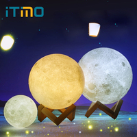 ITimo Moon Lamp Rechargeable 3D Print Light Night Light 2 Color Change Touch Switch Indoor Lighting