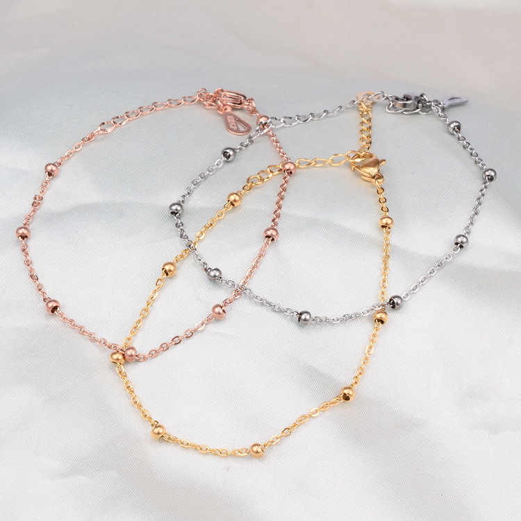 YUN RUO 2018 New Fashion Rose Gold Color Simple Beads Anklet Chic Style Woman 316L Titanium Steel Jewelry Top Quality Never Fade