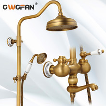 Antique Brass Bathroom Rainfall Shower Faucet Set Luxury Ceramic Gold Plating Mixer Taps With Hand Shower Head Shower Set MD-953 golden rainfall shower faucets set brass wall mounted shower with hand shower mixer for bathroom