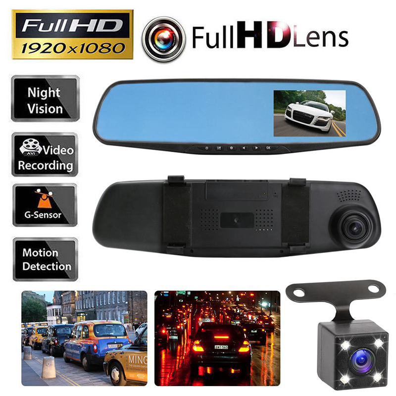 Full HD 1080p Dash Camera Car DVR Rearview Mirror Auto Dvr Dual Lens Dash Cam Recorder Video Registrator Camcorder G-sensor DVRs dual lens car dvr g30b front camera full hd 1080p external rear camera 720 480p h 264 g sensor dash cam two cameras