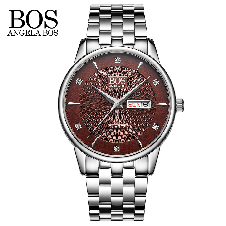 ANGELA BOS Cool Mens Watches Top Brand Luxury Quartz Watch Stainless Steel Date Rhinestones Waterproof Wrist Watches For Men