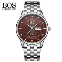 ANGELA BOS Cool Mens Watches Top Brand Luxury Quartz Watch Stainless Steel Date Rhinestones Waterproof Wrist Watches For Men(China)