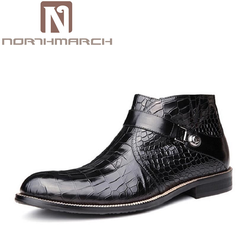 NORTHMARCH Top Fashion New Winter Casual Ankle Boots Stone Pattern Leather Shoes Men Buckle Footwear Erkek Bot Men Shoes fashion rooster and stone pattern 10cm width wacky tie for men