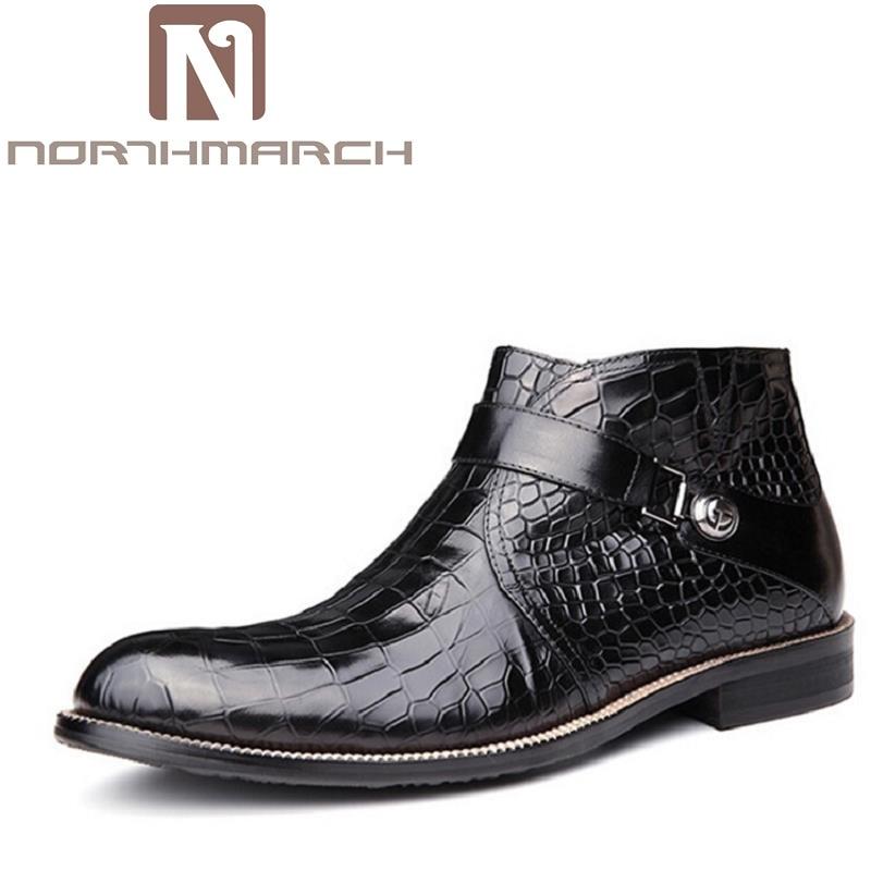 NORTHMARCH Top Fashion New Winter Casual Ankle Boots Stone Pattern Leather Shoes Men Buckle Footwear Erkek Bot Men Shoes fashion splash ink pattern adjustable buckle cabbie hat for men