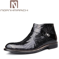 NORTHMARCH Top Fashion New Winter Casual Ankle Boots Stone Pattern Leather Shoes Men Buckle Footwear Erkek Bot Men Shoes