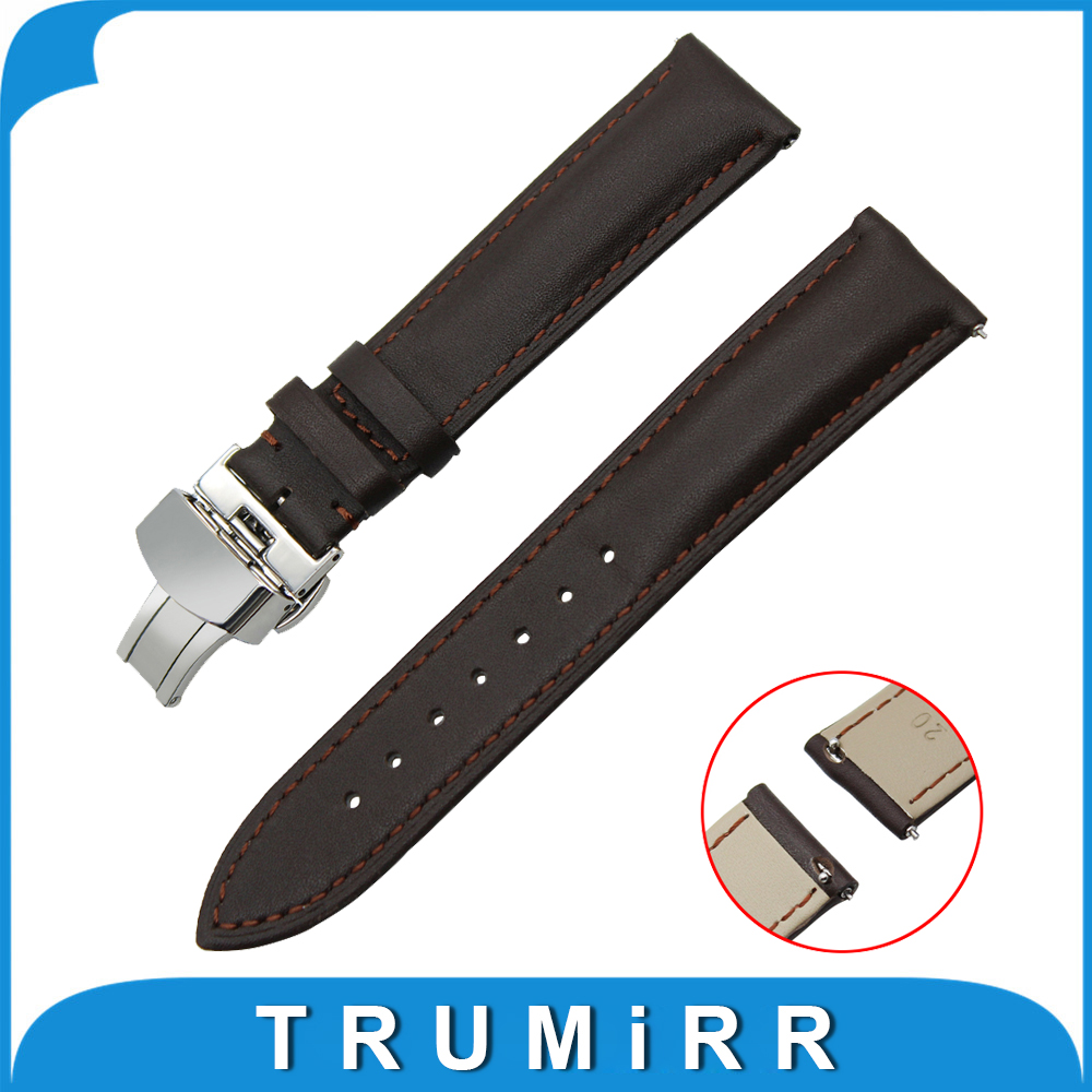 18mm 20mm Genuine Leather Watch Band Quick Release Strap for DW Daniel Wellington Butterfly Buckle Wrist Belt Bracelet Black 18mm 20mm silicone rubber watch band for dw daniel wellington wrist resin strap stainless stee safety buckle bracelet tools