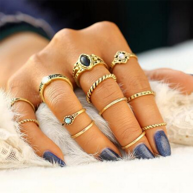 European and American Retro 12-Piece New Set of Gold and Silver Trend Joint Ring Jewelry