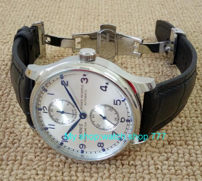 Butterfly buckle 43mm PARNIS Silvery white dial power reserve Automatic Self Wind men s watches Mechanical