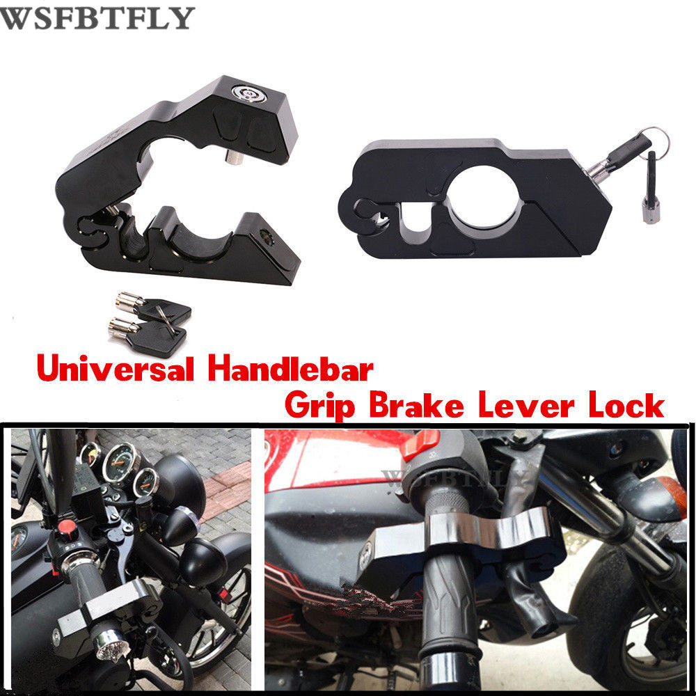 Universal CNC Motorcycle Handlebar Grip Brake Lever Lock Anit Theft Security Caps-Lock For Harley XL883 XL1200 and ATV cnc aluminum lever handle throttle grip lock security for motorcycle bike handlebar handset lever lock bars new fashion