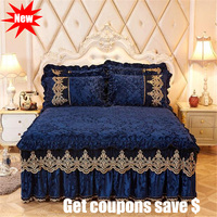 European style crystal velvet fabric quilted bedskirt sets 3pcs solid color lace edge bedspreads quality bedcover bedding set