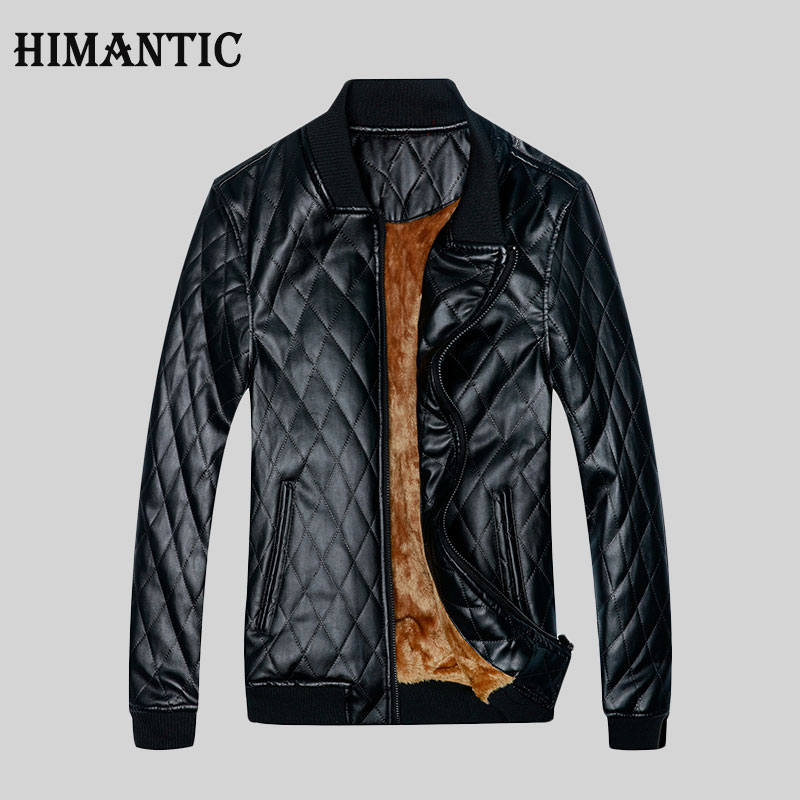himantic Fashion Man PU Leather Winter Coat Stand Collar Black Men Faux Motorcycle Leather Jacket XXL jaqueta couro masculina
