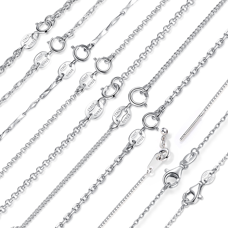 Genuine 925 Sterling Silver Chain Necklace Woman Fashion Long Necklace 100% Silver Necklace Wedding Statement Necklace Jewelry