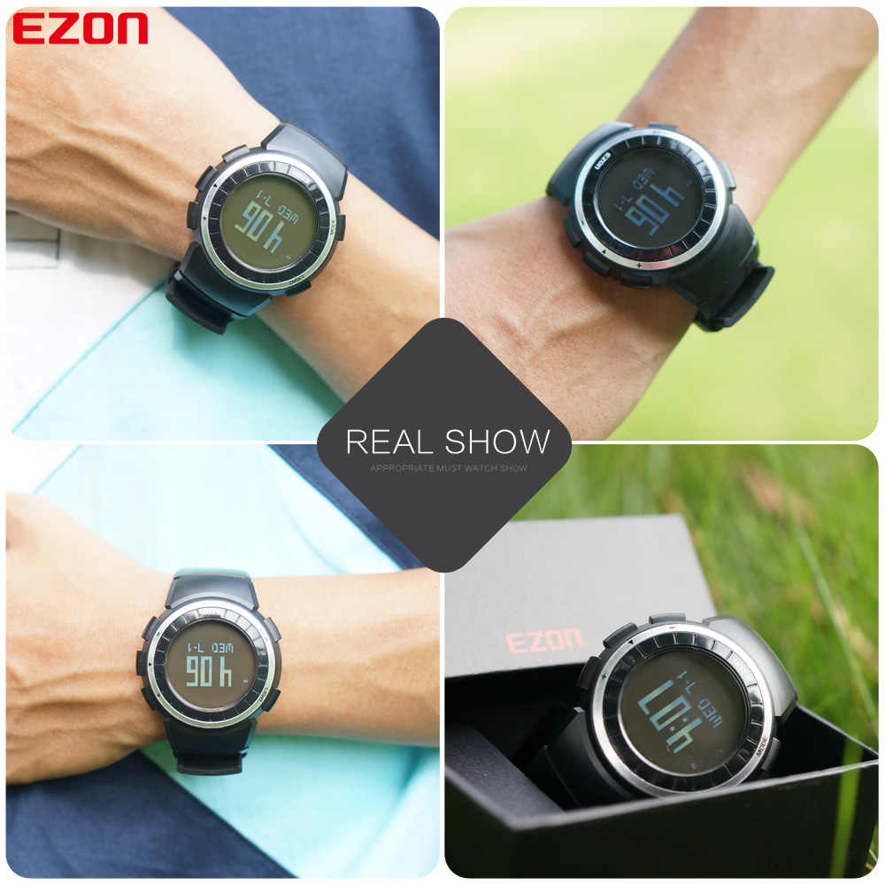 EZON T029 Men Sports Watch Pedometer Calories Chronograph Fashion Outdoor Fitness Watches 50M Waterproof Digital Wristwatches