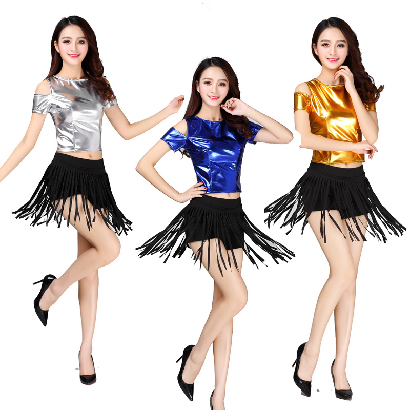 Women adult red silver gold tassels Jazz costume Hip hop costume pants ballroom stage performance cheerleading clothes