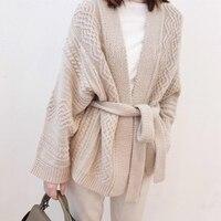Осенний свитер женский 100% чистый кашемировый кардиган пояс свитер утолщение 2018 Весна новое платье свободная Высококачественная куртка