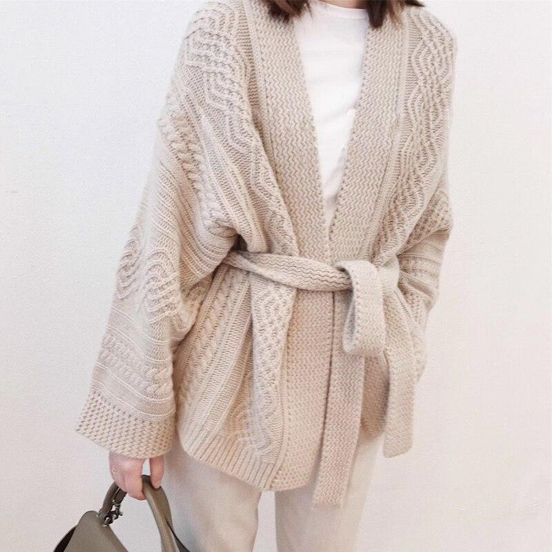 Осенний свитер женский 100% чистый кашемир кардиган пояс свитер утолщение 2018 Весна новое платье свободная куртка высокого класса
