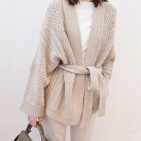 Autumn sweater female 100% pure cashmere cardigan belt sweater thickening 2018 spring new dress loose high end jacket