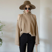 Korean Elegant Ladies Cold Shoulder Turtleneck Hoodie Long Batwing Sleeve Office Work Wear Tops Female Sweatshirt Loose Sudadera