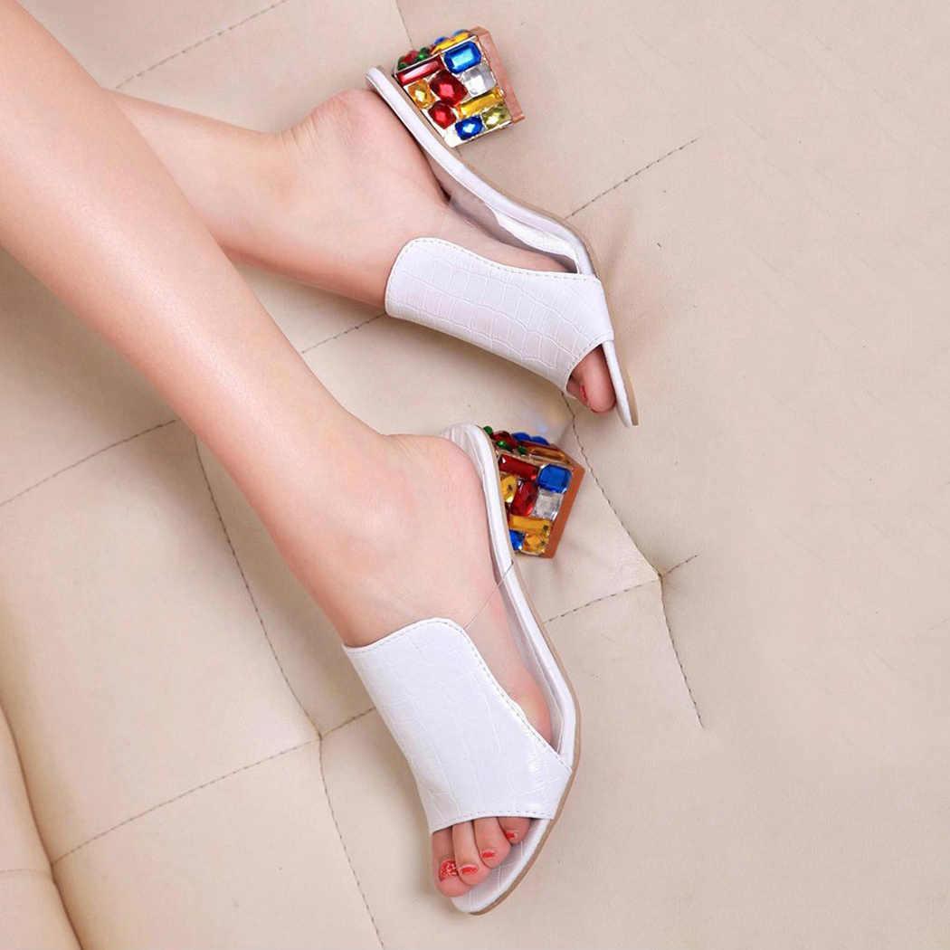 2020 Plus Ukuran Sepatu Wanita Sandal Warna Berlian Imitasi Kristal Sepatu Hak Tinggi Peep Toe Sepatu Wanita Sandal Platform