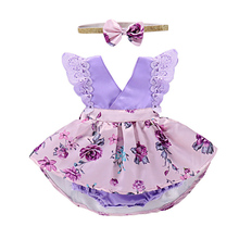 Cute V-neck Girls Lace Sleeve Newborn Baby Purple Summer Outfits Floral  Romper Jumpsuit Dress bbbe1701b1ef