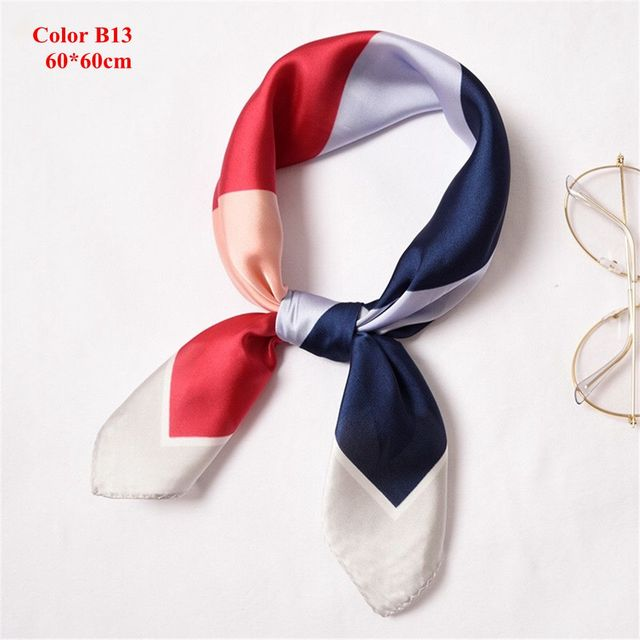 2df814acc3f5 Korean Style Fashion Women Small Vintage Square Silk Feel Satin Scarf  Skinny Elegant Head Neck Hair Tie Band Girls Accessories