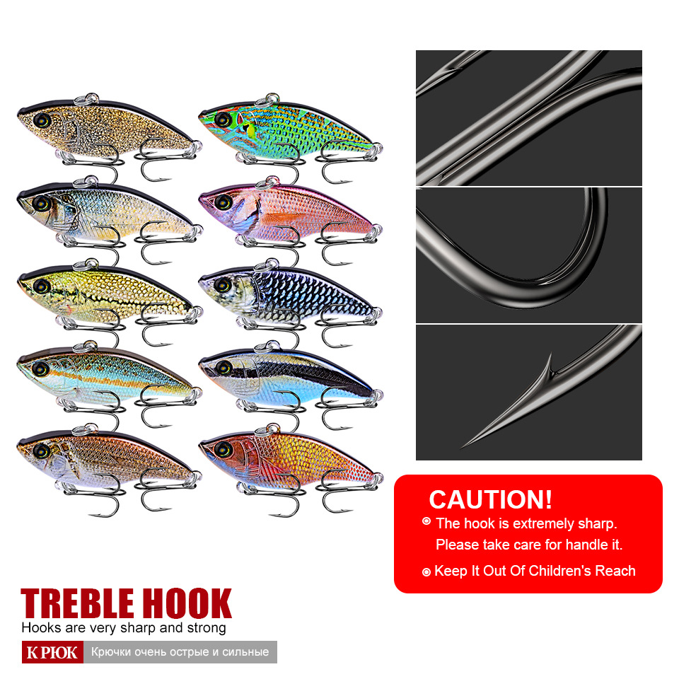 5 4cm 14g Winter Hard Fishing Lure VIB vibration Bionic lifelike Bait With Lead Inside Diving Swivel Wobbler sinking Crankbait in Fishing Lures from Sports Entertainment