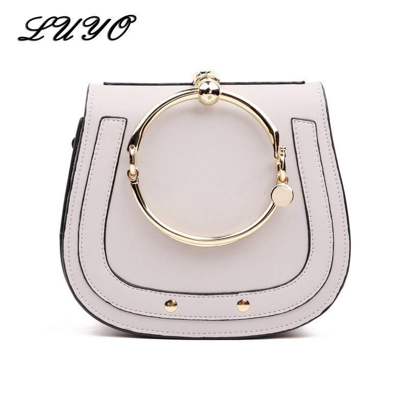 LUYO Ring Saddle Casual Girls Shoulder Bag Small Handbag Crossbody For Women Messenger Bolsa Feminina Famous Designer Cloe lacattura luxury handbag chain shoulder bags small clutch designer women leather crossbody bag girls messenger retro saddle bag