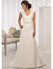 Custom Made New Design 2017 Wedding Dress A-line V-neck Lace Sash Elegant Long Wedding Gowns Vestido De Casamento DC23