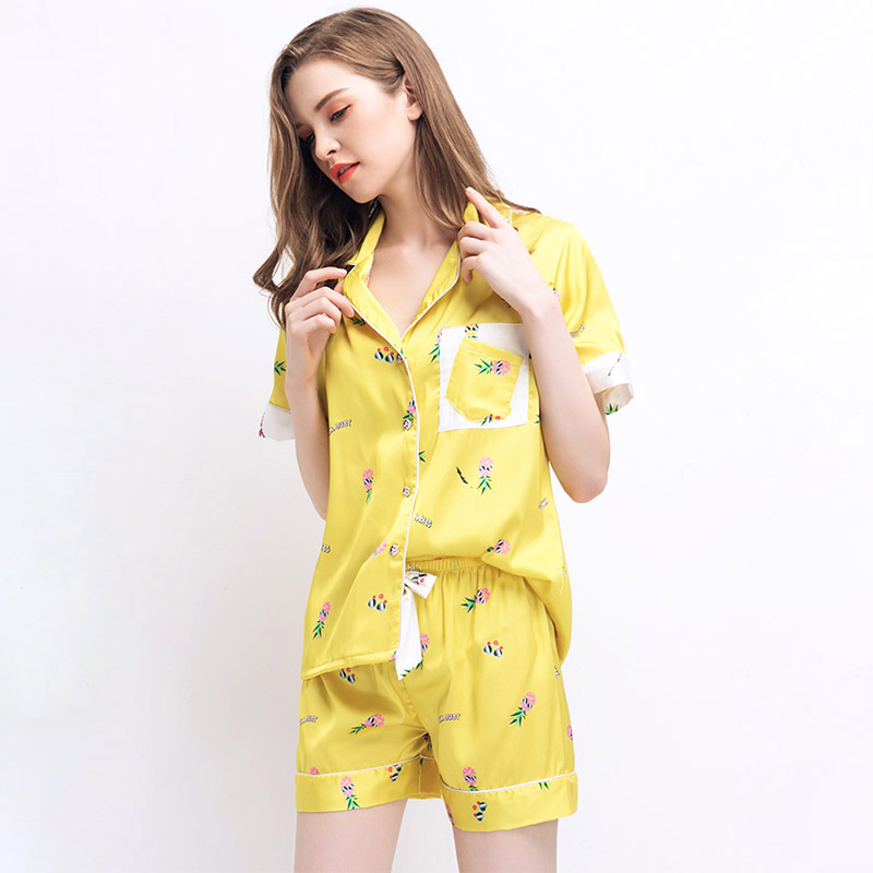 CherLemon Womens Summer Thin Satin Pajamas Sweet Pineapple Print Patchwork  Pijama Mujer Short Sleeve Turn Down Collar Sleepwear-in Pajama Sets from ... dc41b44c0