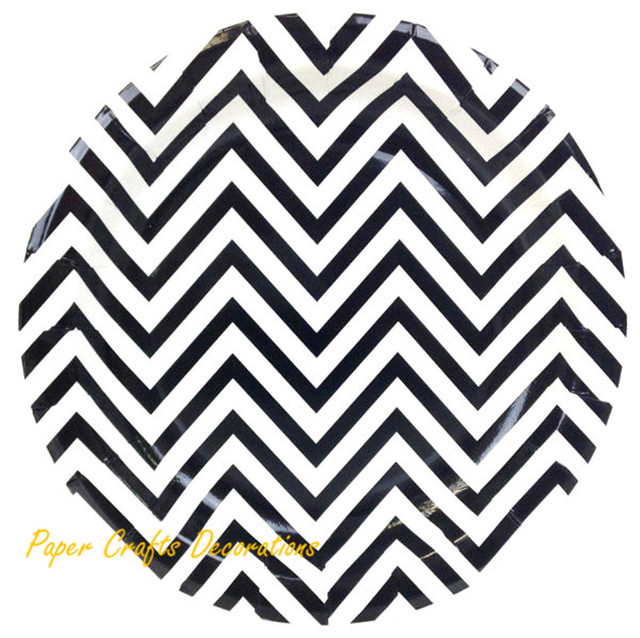 24pcs/lot 9inch Black Chevron Party Round Paper Plates Tableware Party Supplies  sc 1 st  AliExpress.com : black and white chevron paper plates - pezcame.com