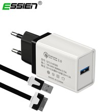 ESSIEN 5V 3A Quick Charger 3.0 EU Mobile Phone USB Charger Adapter Wall Charger Cable for Apple iphone 4 4S 3GS iPad 1 2 3