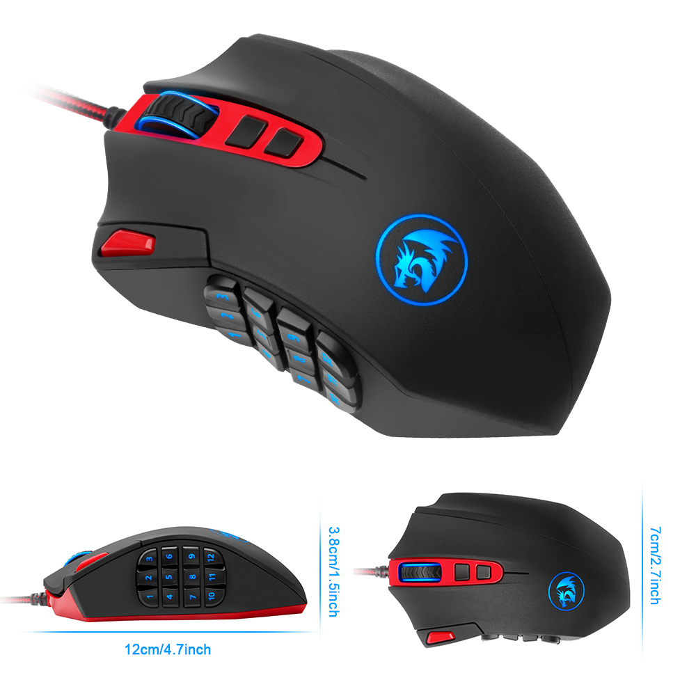 Gaming Mouse 16400 DPI Laser Engine 18 Programmable Button LED RGB Backlit Redragon M901 Wholesale USB Wired Game Mouse Mice sunsonny t m30 usb wired 6 button 600 1000 1600dpi adjustable led gaming mouse golden red