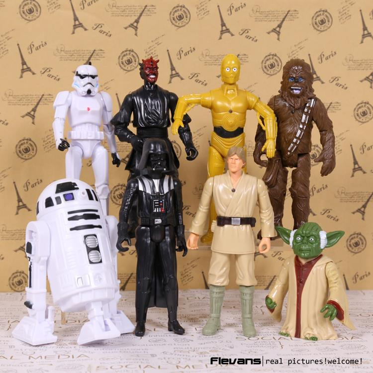 Star Wars Darth Maul Darth Vader R2-D2 Yoda Stormtrooper Chewbacca C-3PO PVC Figures Toys 8pcs/set singcall wireless calling system restaurant guest paging waiter caller 36 restaurant call buttons 2 waterproof receiver ape6900