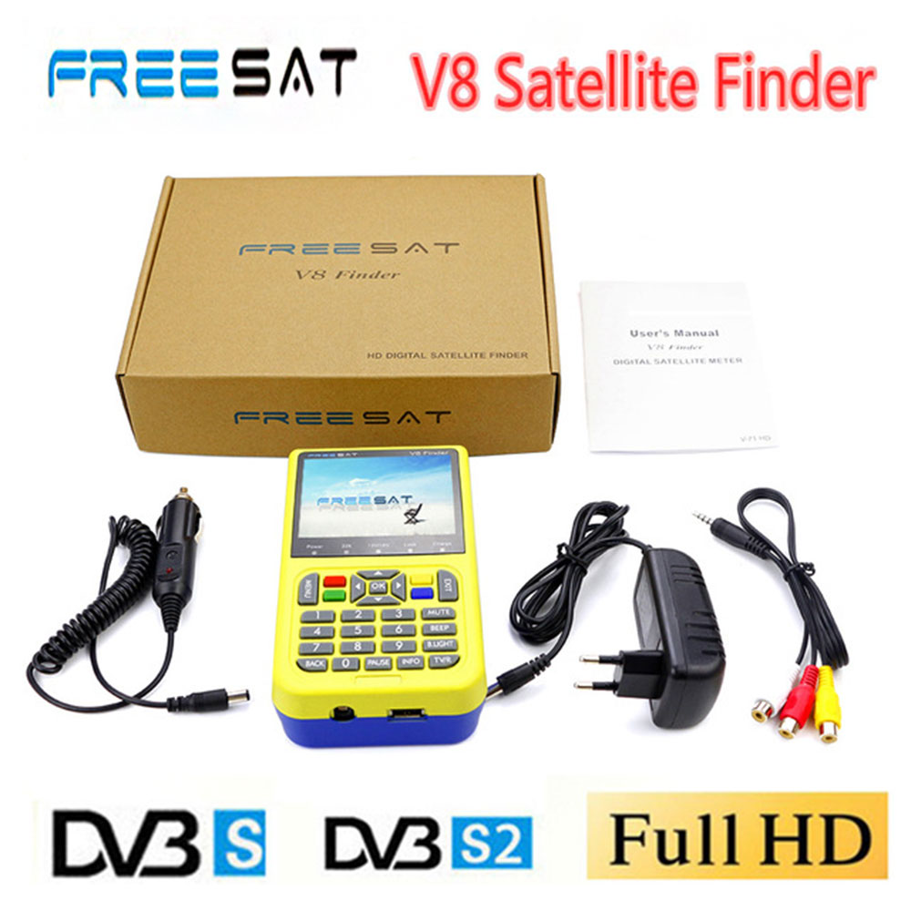 Newest Digital Satellite Finder Meter Freesat V8 Finder HD DVB-S2 FTA LNB Signal  Satellite TV Receiver PK Satlink 6933 6906 satlink ws 6906 dvb s fta digital satellite signal meter satellite finder supports diseqc 1 0 1 2 qpsk