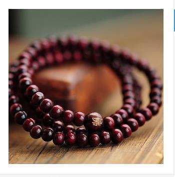 China Wind Classic Red Sandalwood Chunky Wood Rosary 216 Bracelets Beads Handmade Lucky Multilayer Shambhala Trinkets Wholesale
