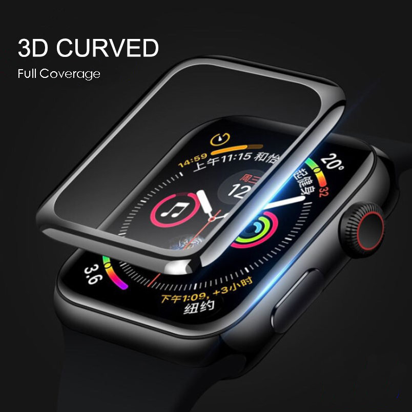 3D Curved Edge Tempered Glass For Apple Watch 40mm 44mm 38mm 42mm For IWatch 1 2 3 4 Full Cover Screen Protector Film Band 9H HD