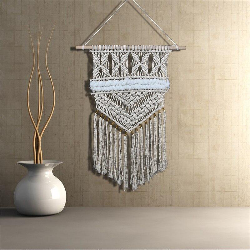 Boho Style décoration de la maison macramé mur Art fait à la main en coton teinté tenture murale tapisserie et dentelle tissu bohême gland