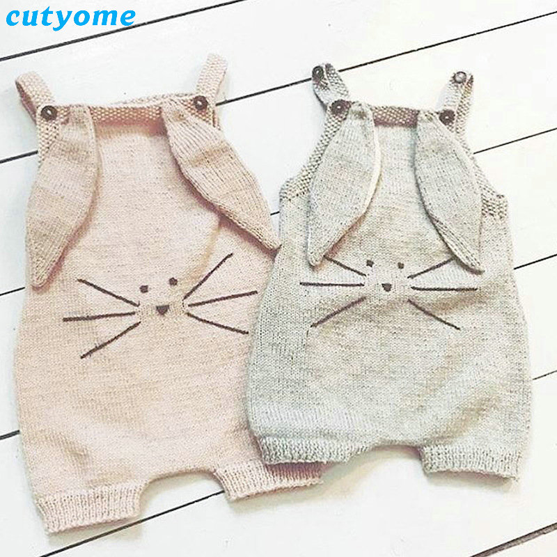 Newborn Baby Boys Girls Knitted Rompers Rabbit Ear Costumes Button Overalls Jumpsuits Crochet Sleeveless Infant Girl Clothes 2017 baby jumpsuits winter overalls deer kinitted rompers climbing clothes sets for newborn boys girls costumes hooded sweater