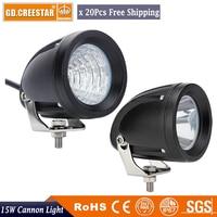 15Watts 3inch Round mini 12V 24V COB led Light Narrow beam work driving offroad lamps for CAR SUV Vehicle motorcycle x20pcs/lot